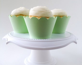 Set of 12 –Mint Green Cupcake Wrappers – Standard Sized - Mint