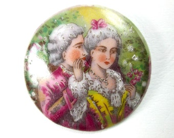 Vintage Porcelain Hand Signed Limoges France French Round Cabochon 18th Century Rococo  Revival Romantic Scene Brooch Pin