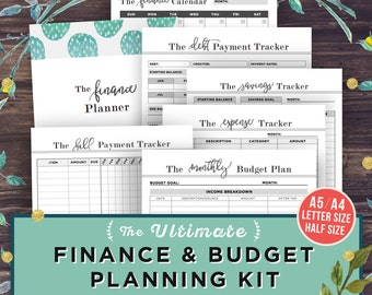 Financial Planner, Budget Planner PRINTABLE, Finance Organizer, A5, Letter, Half Size Money Planning, Monthly Saving, Expense Tracker, Debt