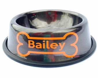 Personalized Graphite Dog Bowl with Bone-Custom Dog Dish-10 Fancy Fonts-Gray-Metallic-Silver-Chrome