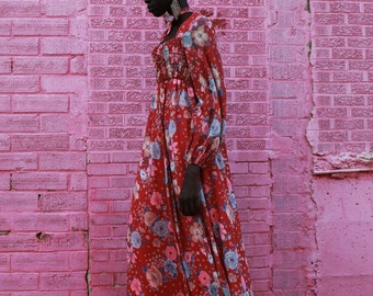 Vintage 70s Floral l/s Bohemian Dress S/M