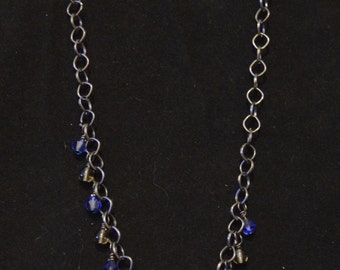 Blue and Smoke Necklace and Earrings Set