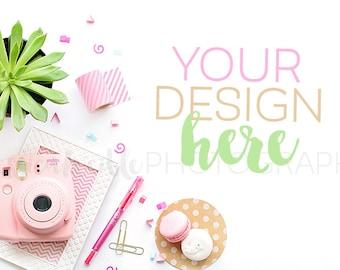 Feminine Pink Camera + Plant Styled Desktop , Styled Stock Photography, Feminine Styled Mockup, Product Background Photo, Confetti Mockup