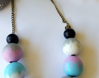 Hand Painted blue pink grey white Boho gold Necklace. free shipping aus
