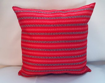 Vibrant Red Striped Vintage Fabric Pillow