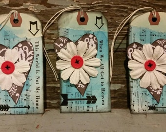 Old Hymn Sympathy gift tags or bookmarks - Set of 3, handcrafted, christian, hang tags