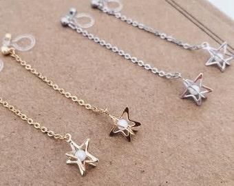 Invisible clip on star charm earrings. Clip on earrings .Non pierced earrings