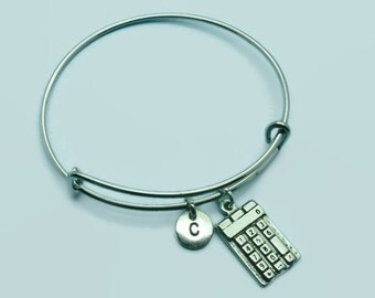 Calculator charm bangle bracelet, maths charm bracelet, personalised initial bangle, letter, personalised charm, charm bracelet, monogram