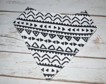 Bibdana, Bandana Bib, Drool Bib - Black & White Aztec