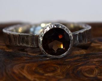 Handmade Sterling Silver and Smokey Quartz Ring size 8.5