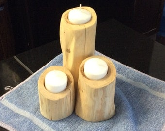 Cedar candle holder set