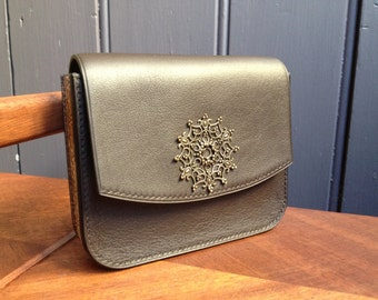 Leather and cork pouch / Wallet / Dark grey / Handmade / Single model