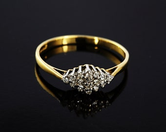 9ct Yellow Gold Vintage Inspired Diamond Cluster Ring, Wedding Ring, Engagement Ring