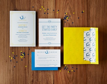 Modern Rustic Ranch Horseshoes - Custom Letterpress Wedding Invitations Stationery Suite, Deposit Only