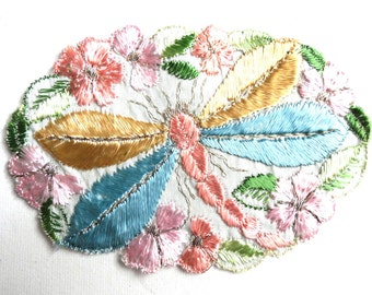 Applique, 1930s vintage embroidered dragonfly applique. Vintage patch, sewing supply. Applique, Crazy quilt #5E8GA9K5D