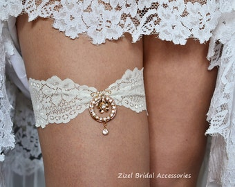 Ivory Wedding Garter, Rhinestone Garter, Lace Garte Set, Bridal Garter, Gold Weddig Garter, Ivory Bridal Garter, Handmade Garter,Toss Garter