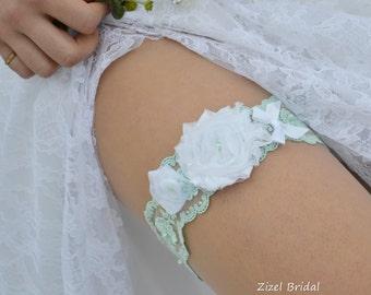 Bridal Garter, Wedding Garter, Lace Garter Set, Mint Garter, Wedding Garter Mint, White Garter Set, Lace Garter, Mint Lace Garter, Garter