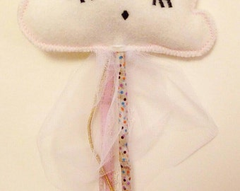 Magic wand for little girl. Costume accessory. Form cloud. Pink ribbons and lace and white tulle.