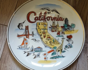 California Souvenir Plate Mid Century Vintage Made in Japan MIJ