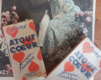 Shaving blades Atout Coeur vintage Paris French - two boxes of five blades
