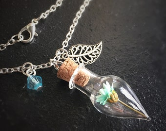 Glass Teardrop Bottle Leaf and Bead Charm Necklace with Blue Dried Mini Flower - Perfect Gift