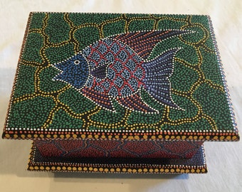 Aboriginal Australian African Inspired Dotted Painting Wooden Jewelry Box, SKU#3004