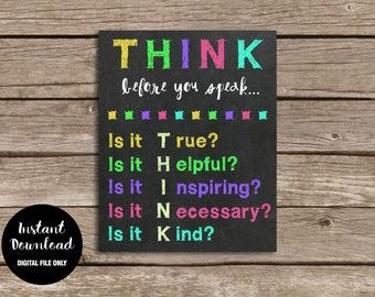 Classroom Decor - Think before you speak, Chalkboard Print, Teacher Sign, Classroom Rules, Teacher Gift, School Wall Decor, Learning Poster
