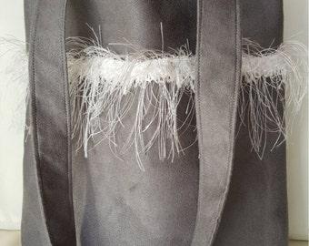 grey suede bag