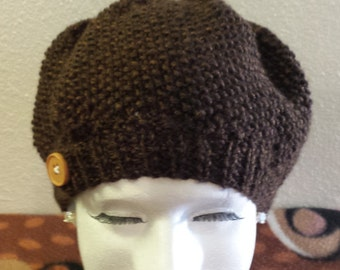Womans Chocolate brown seedy knit beret.