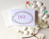 Love gift enclosure card with envelope Floral Wreath mini card for wedding and baby shower