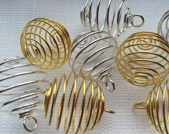 Spiral Cages (set of 2 )- Gold or Silver (Smudged & Reiki Infused)