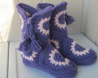 Slippers-knitted boots.