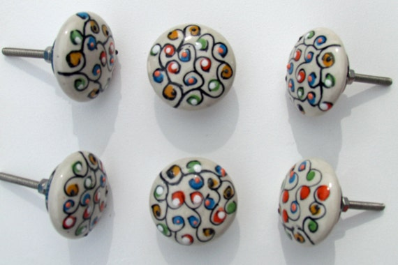 Set of 6 decorative ceramic knobs blooming tree door for Painted ceramic cabinet knobs
