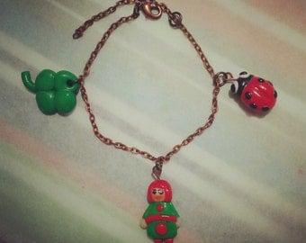 Ladybug Shamrock charm bracelet