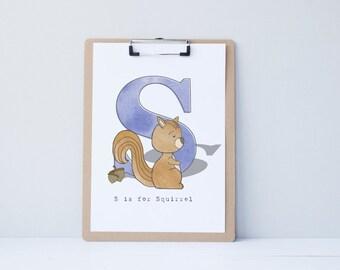 S is for Squirrel - Alphabet Illustration Print, Nursery Art, Kid's Decor, Children's Bedroom, Woodland Animal