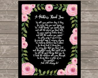 A MOTHER'S THANK YOU poem, Childcare Thank You, Childcare Gift,Teacher Gifts, Nanny gift, babysitter gift, Daycare Thank You Gift,8x10-11x14
