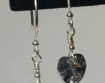 Swarovski Elements Crystal Heart Pendant Drop Earrings