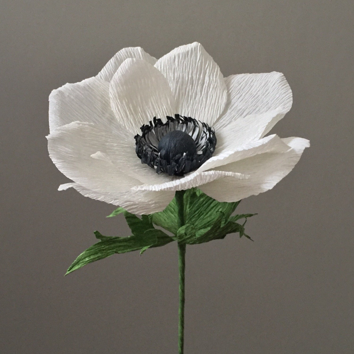 Crepe paper anemone single stem wedding flowers by for Crepe paper wall flowers