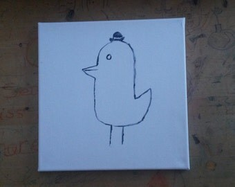 Cute Bird with Top Hat Canvas Handpainted