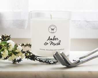 """Medium """"Amber & Musk"""" Scented Soy Wax Candle"""