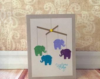 Glitter Elephant Mobile Card