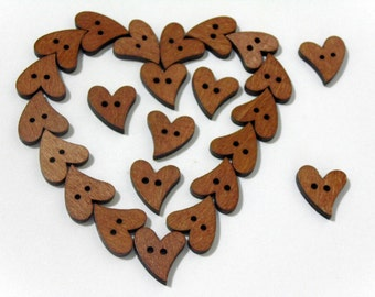 12 Heart shape brown wooden buttons #EB1