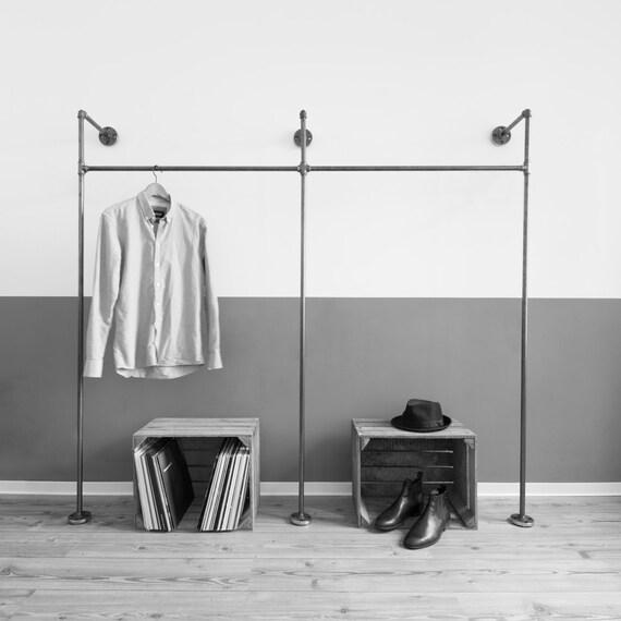 Steel pipe open wardrobe clothing rack coat stand for Garderobe wasserrohr