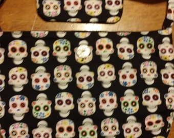 Homemade Sugar Skull Purse with matching wristlet