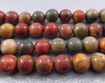 Red Creek Jasper 8mm Round Beads 48pcs