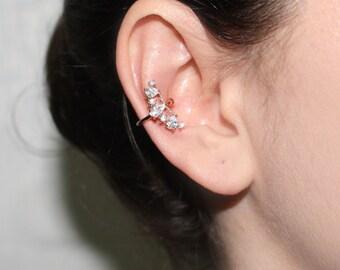 Cubic Ear Cuff, No Piercing Ear Cuff, Cartilage Ear Cuff, Fake Piercing, Ear Cuff, Silver Ear Cuff, Helix Ear Cuff, CZ Ear Cuff
