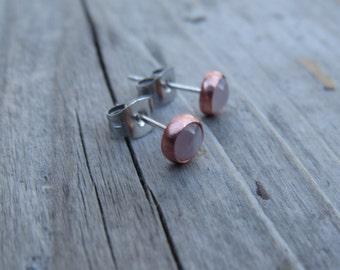 Copper Rose Quartz Earrings