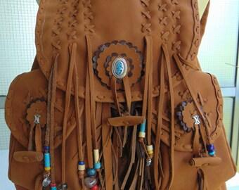 Brown Backpack.Handmade Backpack.Shoulder Bag.Beach bag.Travel -Luggage bag. Tribal Bag. Native American Bag. Beach Bag. Fringes Leather Bag