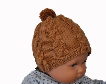 Hat with cables and Pompom for baby, knitted wool/cashmere hand