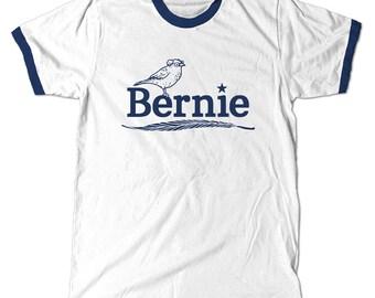 Bernie Birdie Sanders Ringer T-Shirt, Berdie for president 2016 Navy Ringer Tee Shirt